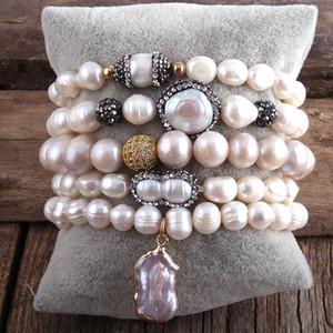 RH New Designer Boho Pearl Beaded Bracelet Freshwater Pearl Strand 5pc Bracelets Sets For Women Jewelry Gift Dropship Y1218