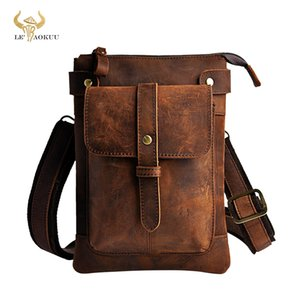Leather Men Multifunction Designer Casual Crossbody Shoulder Messenger Bag Fashion Waist Belt Pack Bag Phone Tablets Case 8711 201015