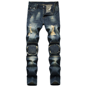 2021Men Jeans New Fashion Mens Stylist Black Blue Jeans Skinny Ripped Destroyed Stretch Slim Fit Hop Hop Pants With Holes For Men