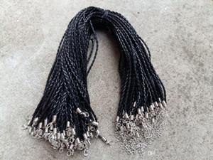 18 «» 3мм черного Pu кожа кос ожерелье Шнуры с застежкой омар для Diy ювелирных изделий Neckalce Подвески Craft ювелирных изделий