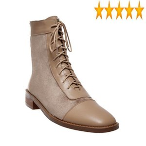 Ankle Women Patchwork Genuine Leather Lace Up Block Heels Autumn Casual Shoes Fashion Motorcycle Boots Riding Botas Mujer1