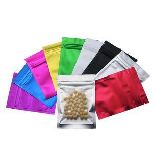 7.5*10cm Matte Black   Clear Front Zipper Bags Resealable Zip Lock Aluminum Foil Plastic Bag Food Grocery Packing Mylar