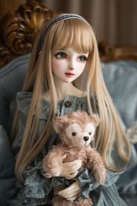 BJD doll hair wigs for 1 3 1 4 1 6 BJD DD SD MSD YOSD doll High-temperature wire long champagne milk golden hair wigs 1011
