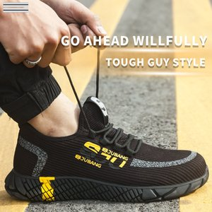 SHUJIN Men's Outdoor Breathable Mesh Steel Toe Anti Smashing Safety Shoes Men's Light Puncture Proof Comfortable Work Shoes Boot 201019