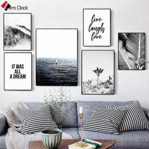 Palm feuille imprimé forêt océan eau déserte toile de peinture citation nordique affiche noire et blanc art mural minimaliste mur picture1