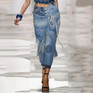Plus Size Jeans Frauen-Weinlese-Knöchel-Länge Distressed Mom Jeans Designer aus gewaschenem Denim-Hosen Damen Retro Loch-Freund