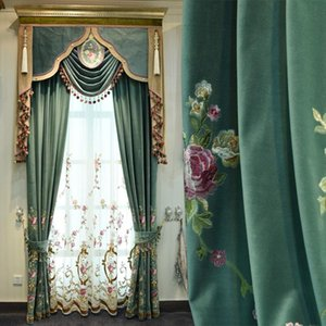 Custom curtain high quality Italy European refined modern luxurious embroidery green cloth blackout curtain valance tulle E697
