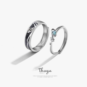 Thaya Women Rings Jewelry 3D Texture Rings Blue Planet Couple 925 Sterling Silver Rings For Women Engagement Gift 201006