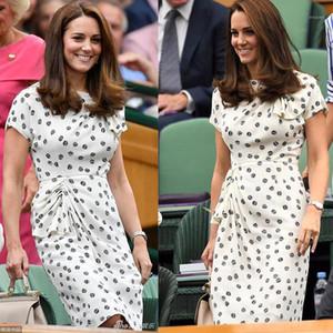 New Kate Middleton Princess Vintage Print Dress Fashion O-Neck Short Sleeve Pleated Dresses1