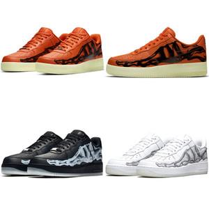 2020 Yeni Yayın İskelet Cadılar Bayramı Kemikleri Nightlight Görünür Kaykay Ayakkabı Erkek Düşük 1 Siyah Beyaz Turuncu Öncü Tasarımcı Kadın Sneakers