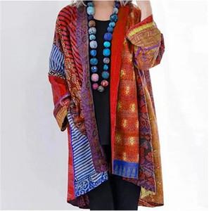 Femmes imprimer fleur Trench Vintage manteaux 2020 automne nouveau support à manches longues en vrac Style chinois coton Trench manteau