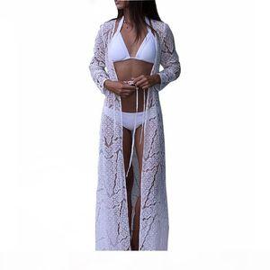 Beach Cover up Women Lace Crochet Bikini Long Cover up Pareos Para playa Tunics for Beach Robe de Plag Bathing suit Cover ups
