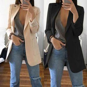 2020 Новое Прибытие Женщины Дамы Длинные Рукава Кардиган Тонкие Куртки Костюм Пальто Рабочая Куртка Повседневная Средний Пальто