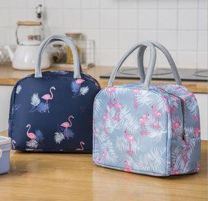 50 pcs saco de almoço bolsa de lona Oxford impermeável flamingo imprime isolamento organizador piquenique frio caixa de armazenamento de alimentos