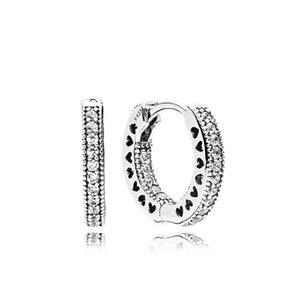 진짜 925 스털링 실버 CZ 다이아몬드 후프 귀걸이 Pandora 여성용 원래 상자 고품질 보석 귀걸이 세트 32 O2