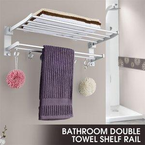 Alumimum Katlanabilir Banyo Havlu Askısı Depolama Askı Mutfak Otel Havlu Giyim Rafı ile 5 Hooks Y200407