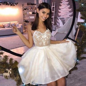 New Design Short Homecoming Dresses Spaghetti Backless Appliques Beads Mini Cocktail Party Gowns Special Prom Dress L126