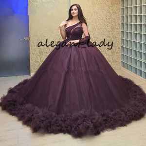 Puffy Purple Beading Long Prom Dresses Plus Size One Shoulder Quinceanera Dresses Sweet 16 Princess Party Evening Dresses