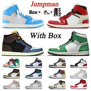 С коробкой Jumpman оригинальный 2020 Jumpman Mens Womens Basetball Shoes 1 High Lucky Green 1S Mid Sports Snower