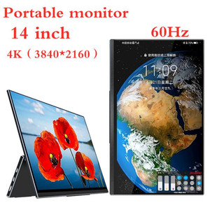 Monitore 14-Zoll-tragbarer Monitor 3840 * 2160 4K FHD-Touchscreen IPS-Panel 60Hz Computer-Gaming-Display-Telefon-Tablet-Laptop-Video
