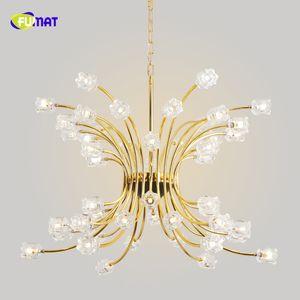 Fumat Oro, Vetro, Fiore K9 Stainess acciaio Pendant Led Lighting lusso minimalista personalità Lustri lampada Crystal Clear