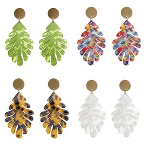 Accessori per gioielli a forma di foglia Accessori per gioielli acrilico Acico ACCETICO ACCELLO ACCELLENTE Leopardo Stampa Donne Eardrops Moda Pendenti Ear Verde 2 7SFA M2