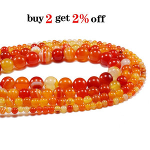 4 6 8 10 12mm Natural Orange Banded Agat Natural Stone Round Beads For Jewelry Making Diy Bracelet Necklace Earring 1strand Lot H jllUNx