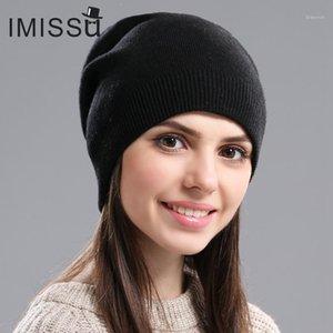 Imissu Herbst Winter Hüte Unisex Gestrickte Echtwolle-Skullies Freizeit Mütze Solide Farben Ski Gorros Fashion Cap Warme Muts Hat1