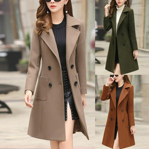 Женская зимняя лавочка-кнопка длинные коричневые пальто куртки дамы пальцев вагон в британском стиле сплошной шерстяной смеси молитве