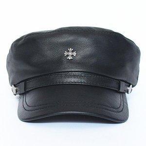 Disponibles Real Sheepskin Hats Genuine Leather Rivet Insignia Caps Gorros Invierno Europa y Americana Cosplay Headwear Adulto