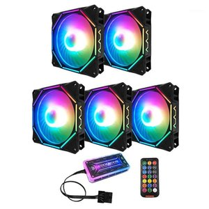 Coolmoon Rgb Computer Case Fan 12Cm Silent Polygon Inner and Outer Light+Standard Controller Computer Cooling Fan Cpu Fan(5 Pcs)1