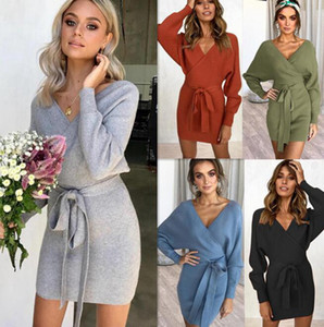 Encolure en V Pull Fesses taille lacent femmes Pull robe moulante hiver Forfait sexy Fesses Robes confortable Pull en maille GGA3804