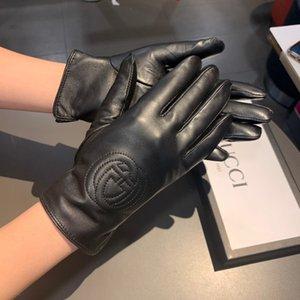 de alto grado de 2020 nuevas mujeres de piel de oveja bordado guantes calientes