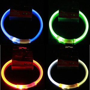 USB Charge Pets Dog Collar Outdoor Luminous Safety Collars Light Adjustable LED Flashing Puppy Collar Pet Supplies DBC BH3129