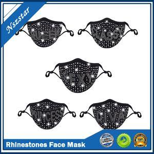 DHL Letter Dustproof Face Mask Bling Diamond Protective Mask PM2.5 Mouth Masks Washable Reusable Women Colorful Rhinestones Face Mask 2021