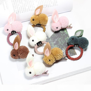 Moda Sevimli Topu Tavşan Saç Yüzük Kadın Tie Halat Kore Elastik Kauçuk Saç Bantları Bunny Klip Çocuk Saç Aksesuarları
