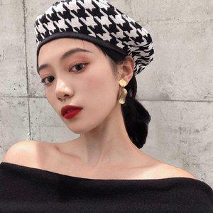 Automne Hiver Mode Houndstooth Bérets Chapeaux pour femmes Noir Blanc Peintre Casual Chapeau Boina Feminino