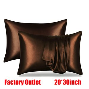 20*30inch Solid Color Silk Satin Pillowcase Cover Home Bedding Smooth Solid Soft Silky Pillowcase