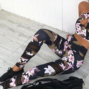 MISSKY 2020 New 2PCS Set Women Sets Sexy Floral Pants Bra Suit Slim Fit Leggings Suit For Female Summer