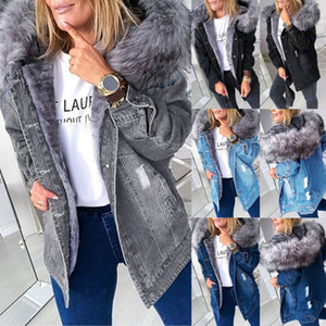 2021winter Faux Fur Coats Loose Plush Ripped Buttons Coat Female Hooded Denim Outwear Womens Warm Jackets M-5xl