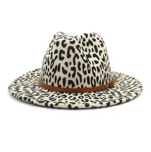 Winter Fedora chapéu sentiu lã lã panamá chapéus mulheres moda plana com cinto largo borda jazz chapéu leopardo chapéu de casamento pop estilo tampões GWC4917