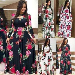 Designer Elegant Spring Women Dress Casual Bohmia Flower Print Maxi Dresses Fashion Hollow Out Tunic Vestidos Plus Size