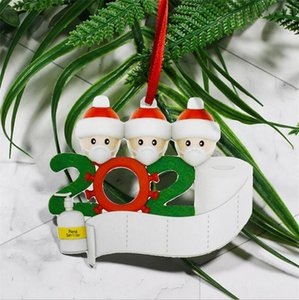 Quarantine Personalized Ornaments Survivor Family of 1 2 3 4 5 6 7 Face Masks Hand Sanitized Customize Xmas Decoration Creative Toys OWC2698