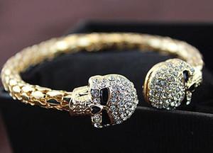 Fashion Skull Design Bracelet Female Rhinestone Alloy Gold silver Plated Charm Cuff Bracelets For Women qyleeG dayupshop