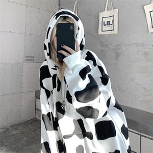 Cow Mulheres Hoodies Outono Inverno Suéter solto e Thin casal coreano Jacket Letter Printing Hoodie da camisola Feminino