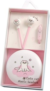 Kids Earbuds for Girls - Cute Pink Cat Headphones for School with Earphone Case Mic Tangle-Free Cords (Pink Cat-1)