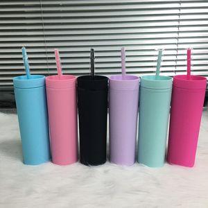 16oz 6 cores Acrílico Tumbler Skinny com palhas palhas plástico copo de parede dupla leite xícaras de café fosco Cores Cores Slim para viagem