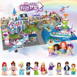 Dolphin Bay Pink Dream Girl Castle Yacht Airport Terminal Car Puzzle Assembly Blocks Children's Toys Gift Girls Toys