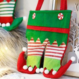 Pantalones de Navidad Bolsos New Christmas Santa Elf Espíritu Pantalones Pantalones Stocking Bolsos Trate Pocket Candy Botella Regalos Bolsas Presente EWF2479