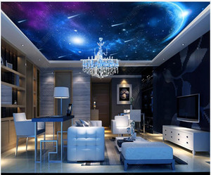Custom photo ceiling mural wallpaper 3D zenith mural Beautiful and colorful universe planet starry sky ceiling painting murals decoration